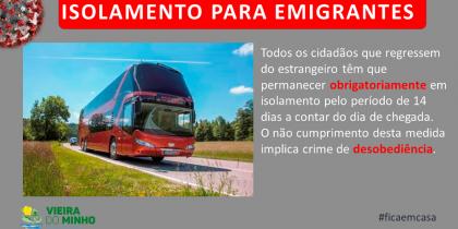 Cidadãos que regressem do estrangeiro são obrigados a ficar em isolamento durante 14 dias